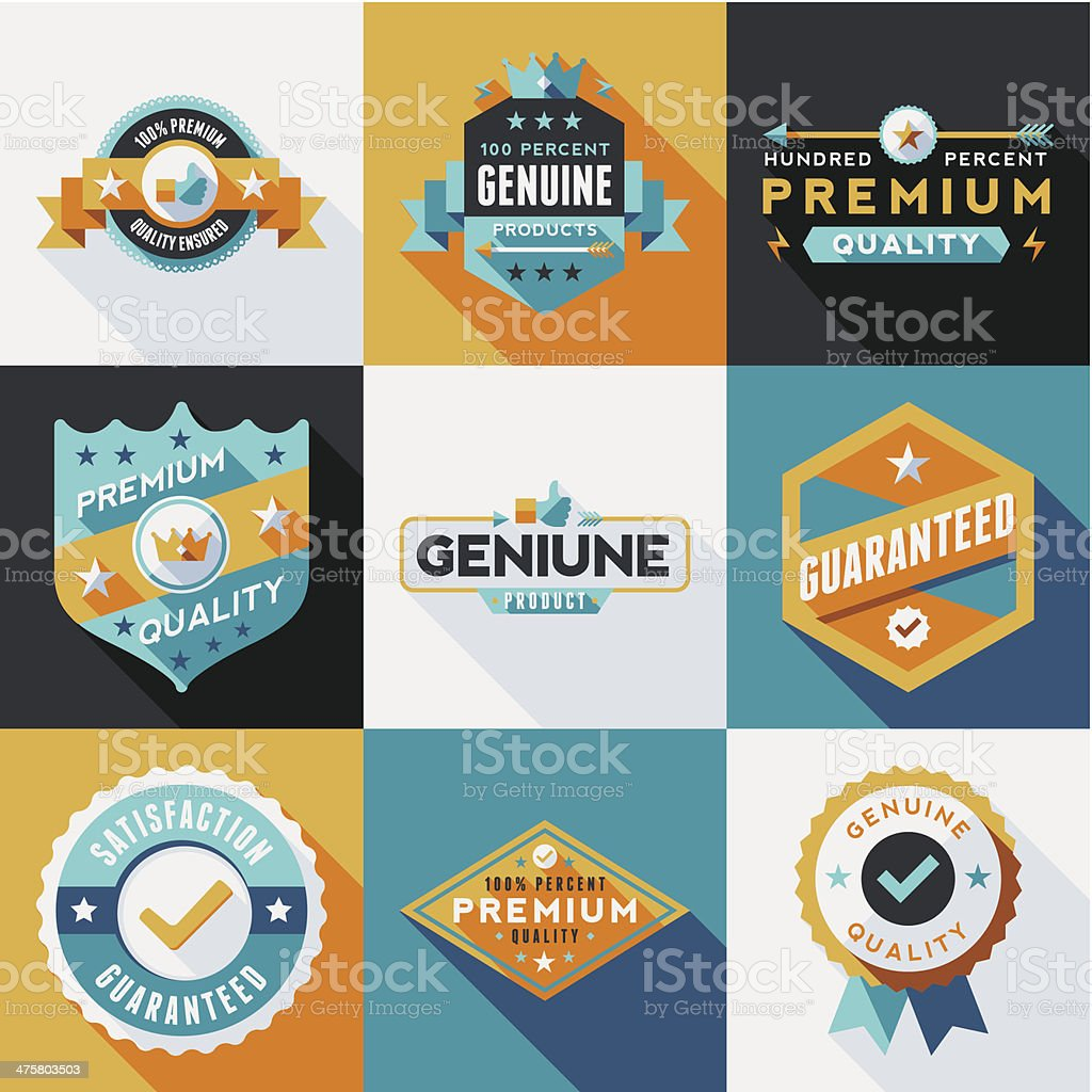 Flat Labels & Badges Set vector art illustration