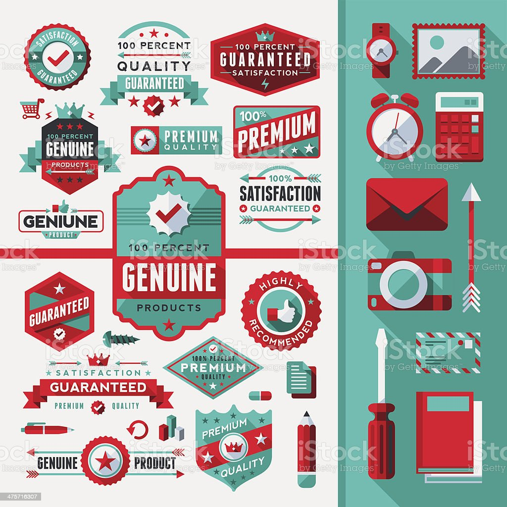 Flat Labels & Objects Toolkit vector art illustration