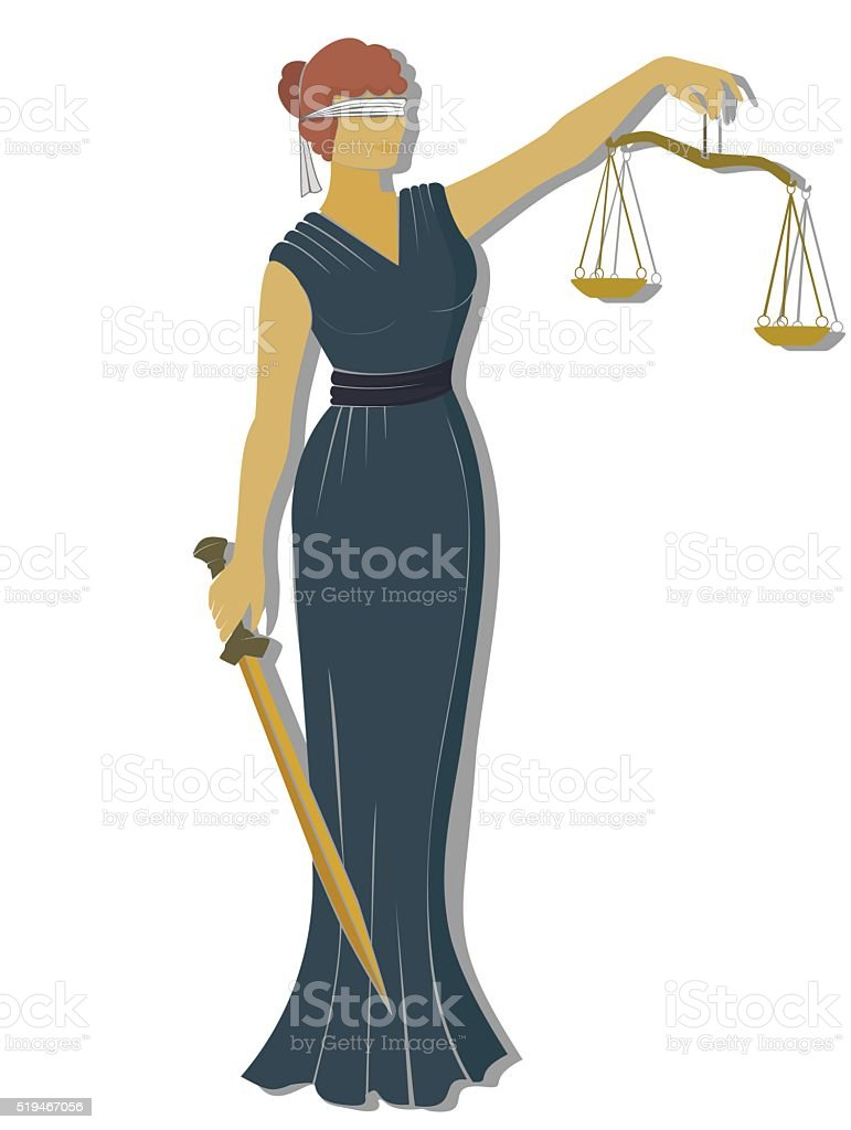 flat lady justic .Themis  Equality  fair trial and Law . vector art illustration