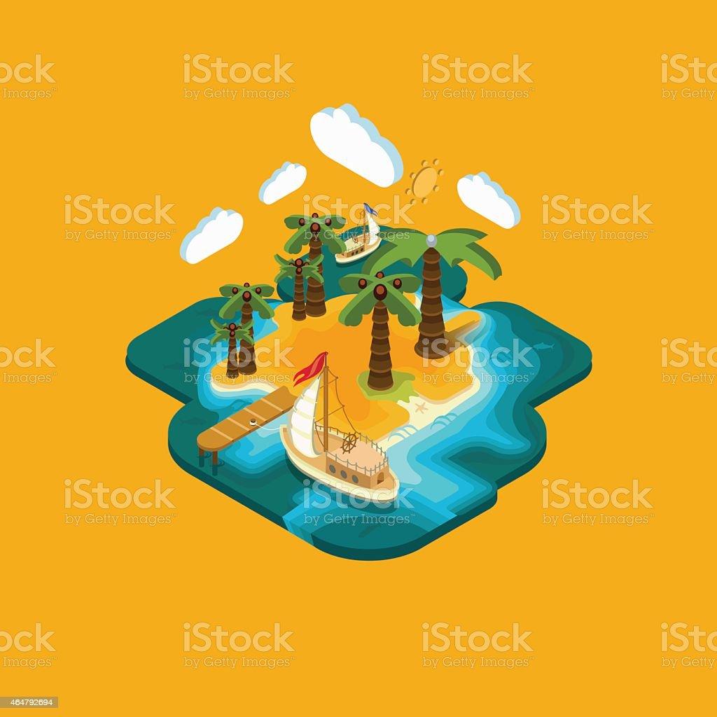 Flat landscape isometric concept ? desert islan vector art illustration