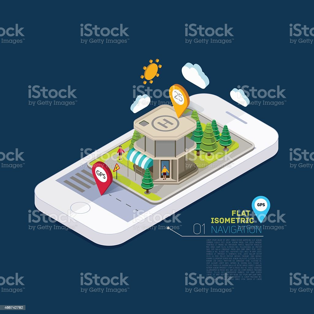 Flat landscape street infographic 3d isometric concept on the phone. vector art illustration