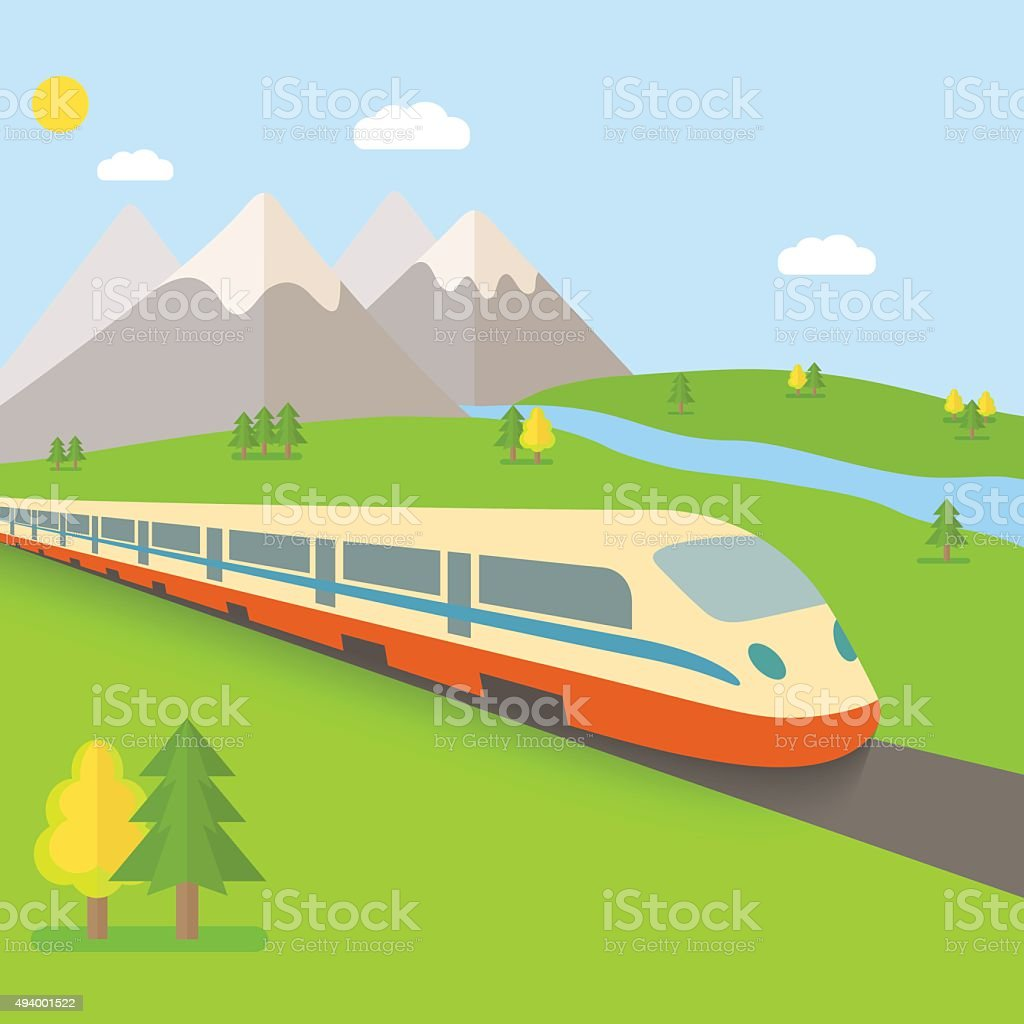 flat landscape with train, river, trees. vector illustration vector art illustration