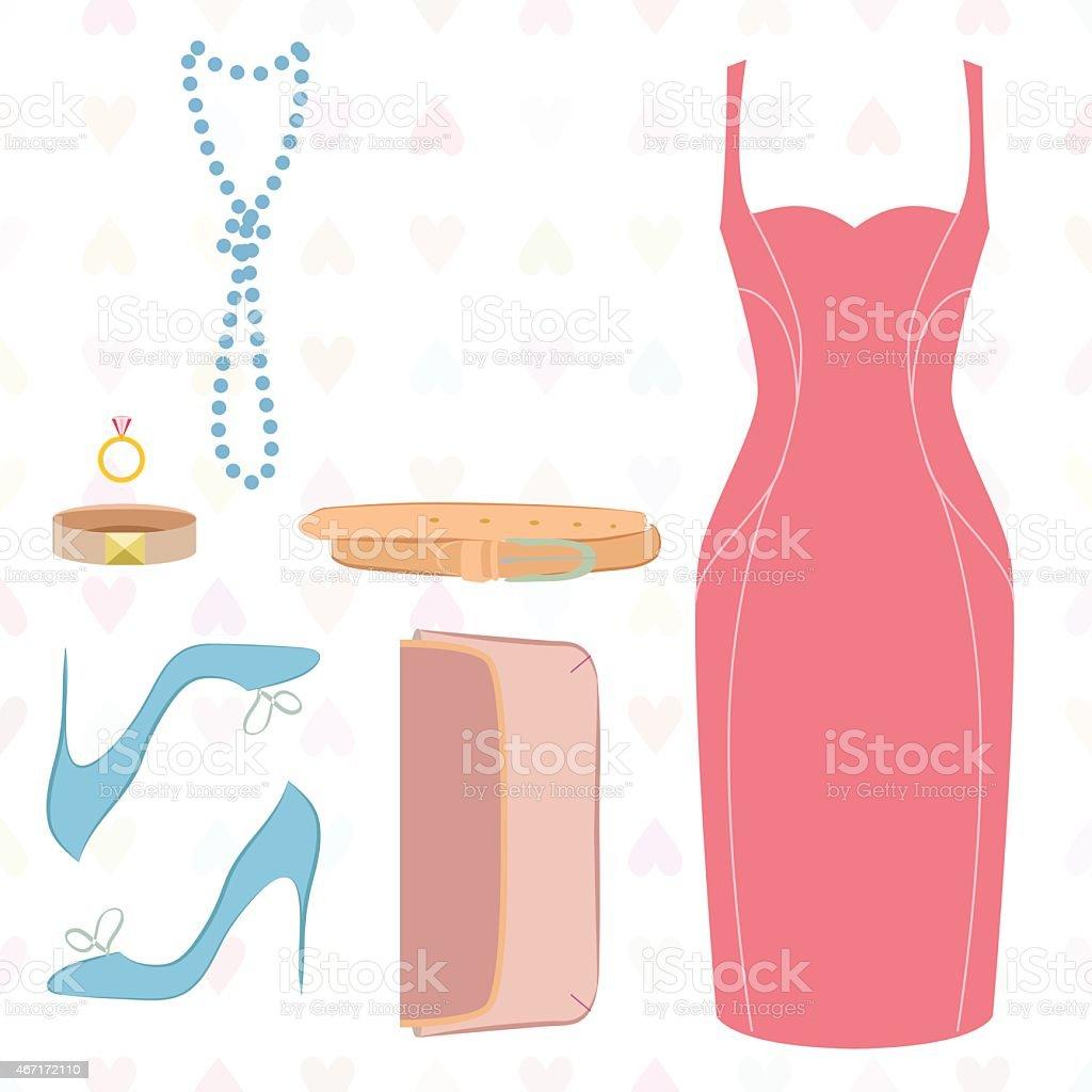Flat lay of dress, shoes, clutch, belt ascessories vector art illustration
