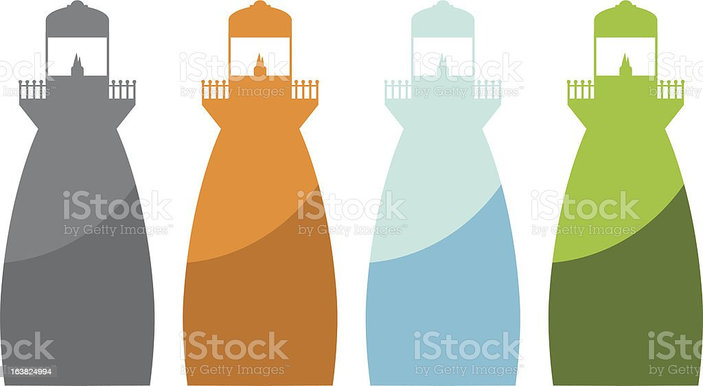 Flat lighthouses royalty-free stock vector art