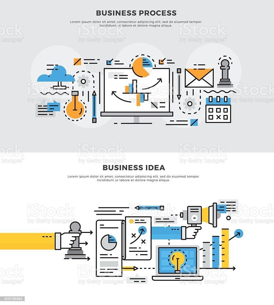 Flat line banner design  concept for Business Project vector art illustration