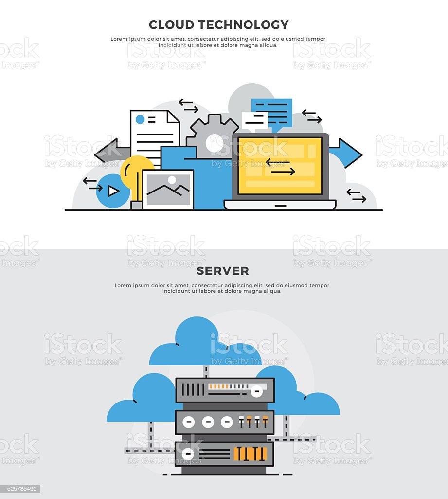 Flat line banner design  concept for Cloud Technology vector art illustration