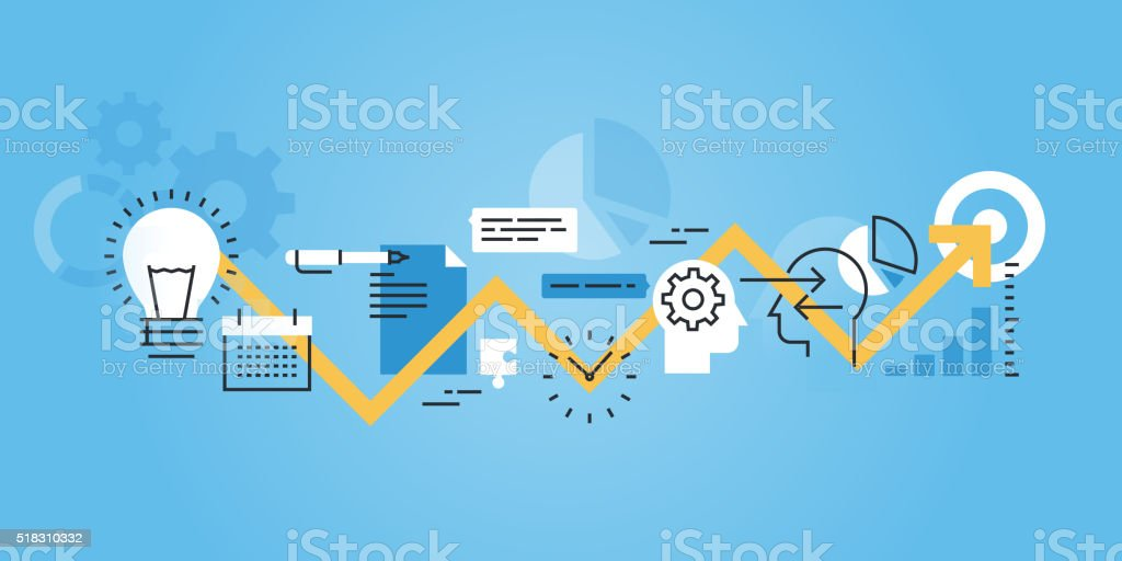 Flat line banner of development process, from idea to realization vector art illustration
