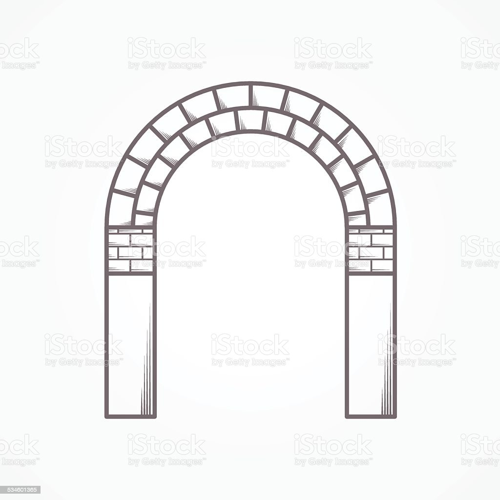 Flat line brick archway vector icon vector art illustration