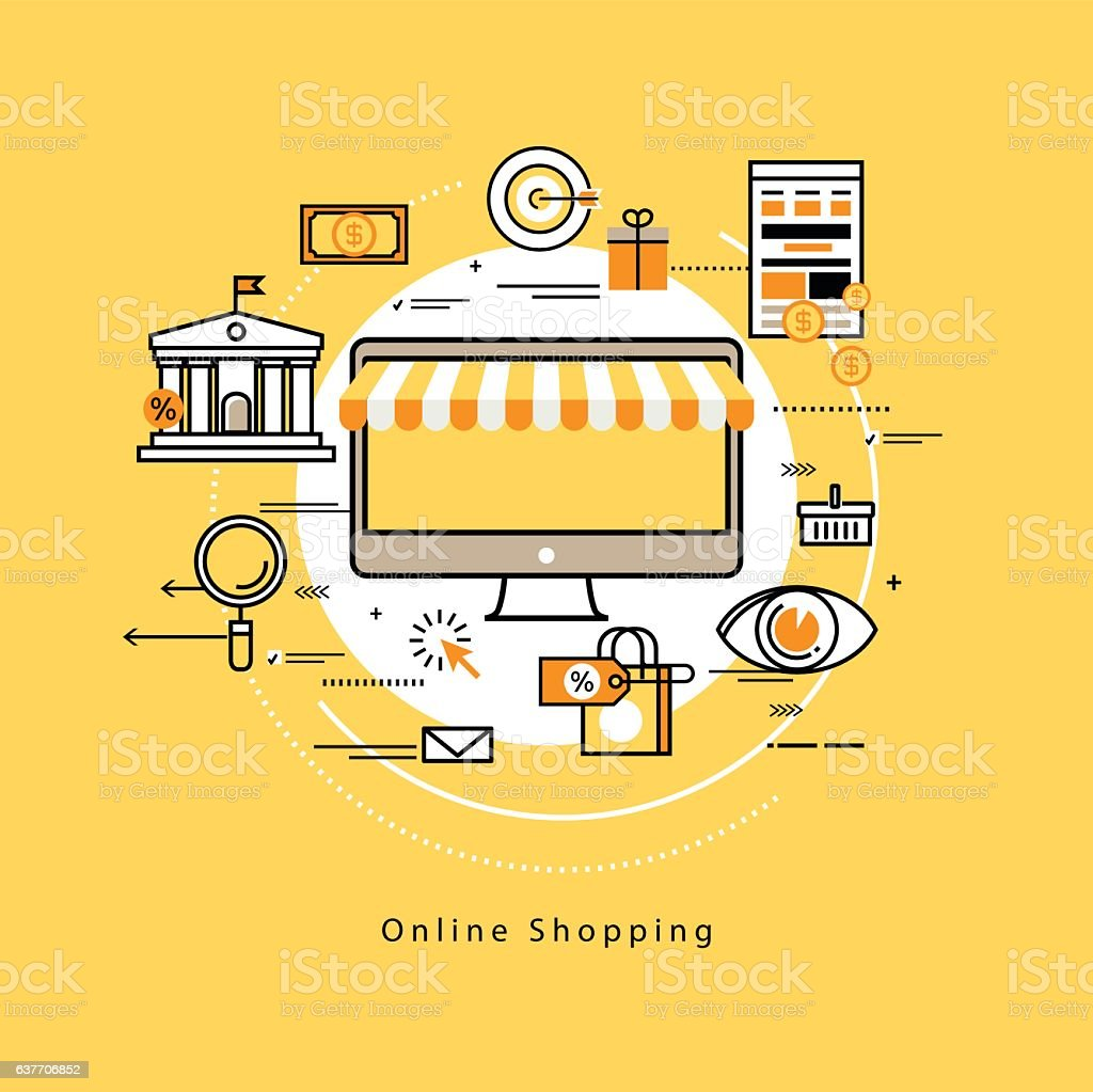 Flat line business vector illustration design for e-commerce vector art illustration