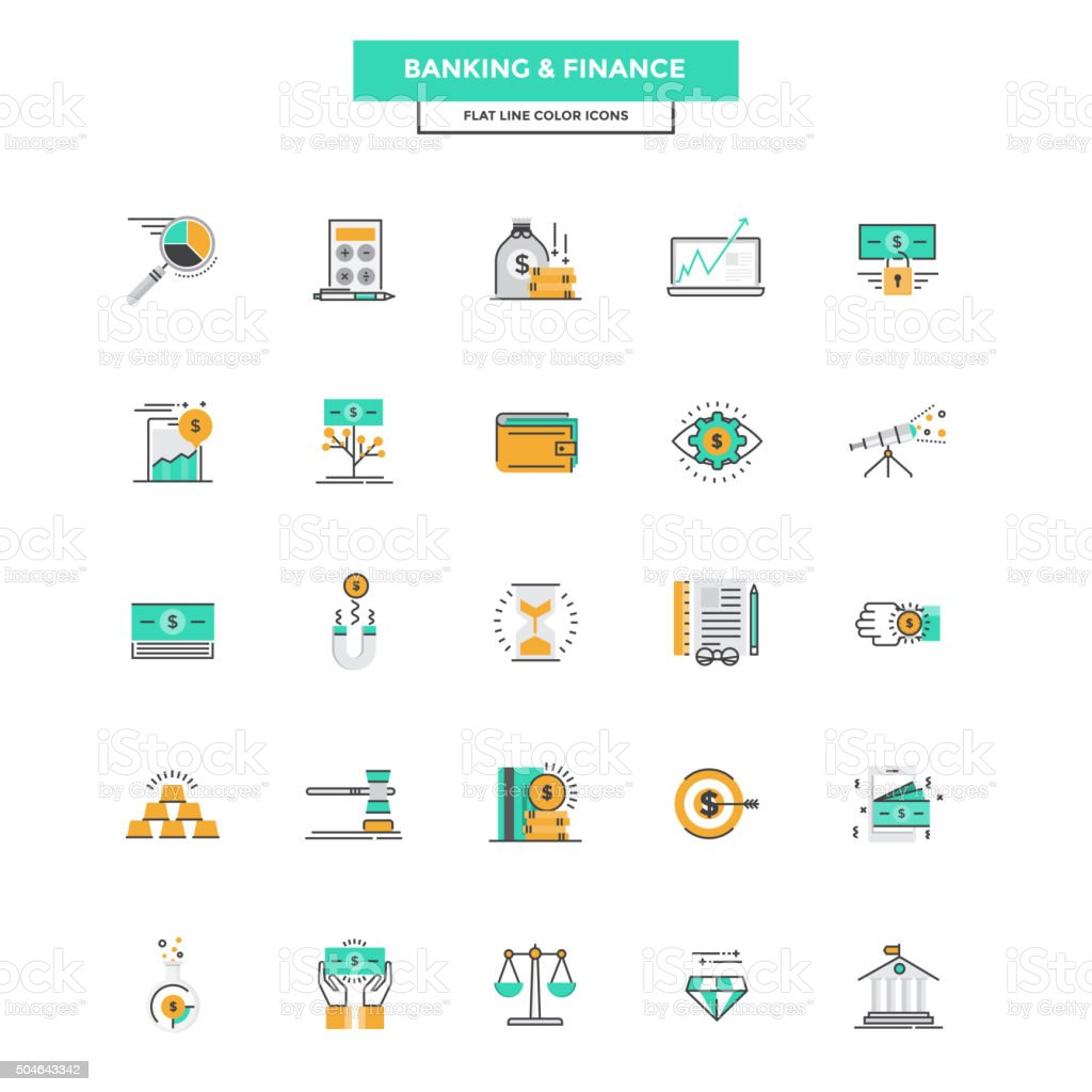 Flat Line Color Icons- Banking and Finance vector art illustration