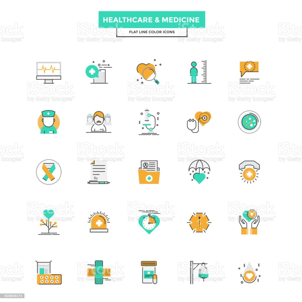 Flat Line Color Icons- Healthcare and Medicine vector art illustration