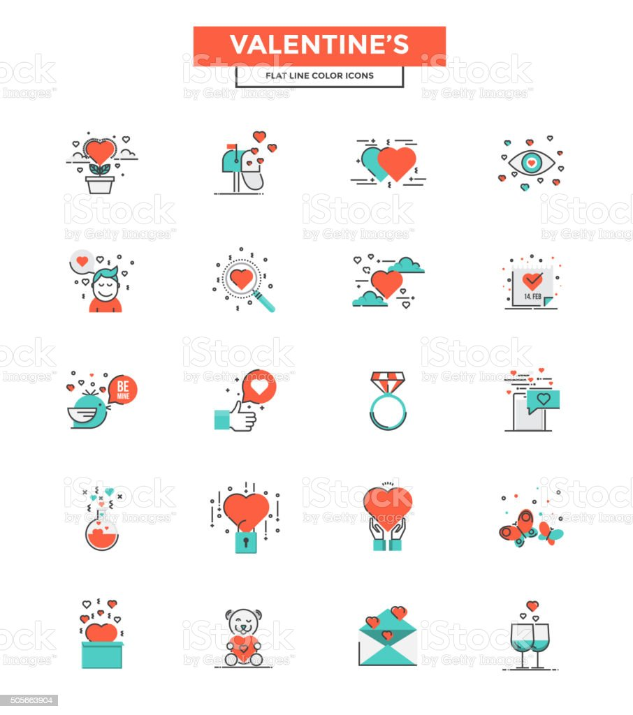 Flat Line Color Icons- Valentines vector art illustration