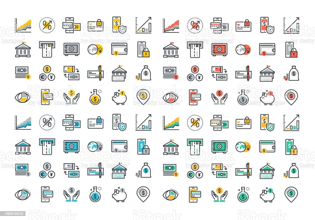 Colorida colección de iconos de línea plana de la banca y e-banking illustracion libre de derechos libre de derechos
