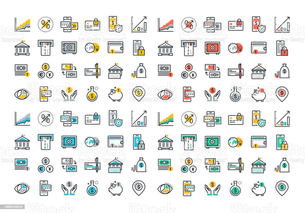 Flat line colorful icons collection of banking and e-banking vector art illustration