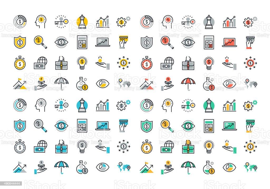 Colorida colección de iconos de línea plana de negocios y finanzas illustracion libre de derechos libre de derechos