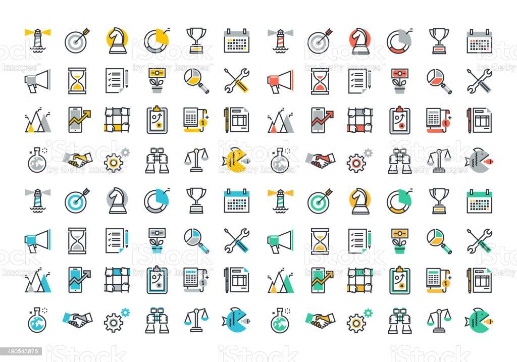 Colorida colección de iconos de línea plana de negocios y de comercialización illustracion libre de derechos libre de derechos