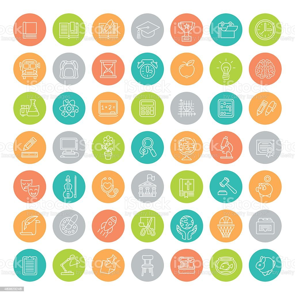 Flat Line Colorful Round School Subjects Education Icons vector art illustration