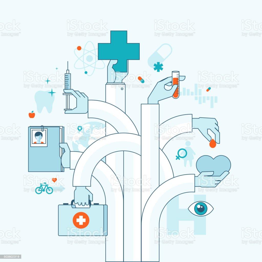 Concepto plano de tema de medicina illustracion libre de derechos libre de derechos
