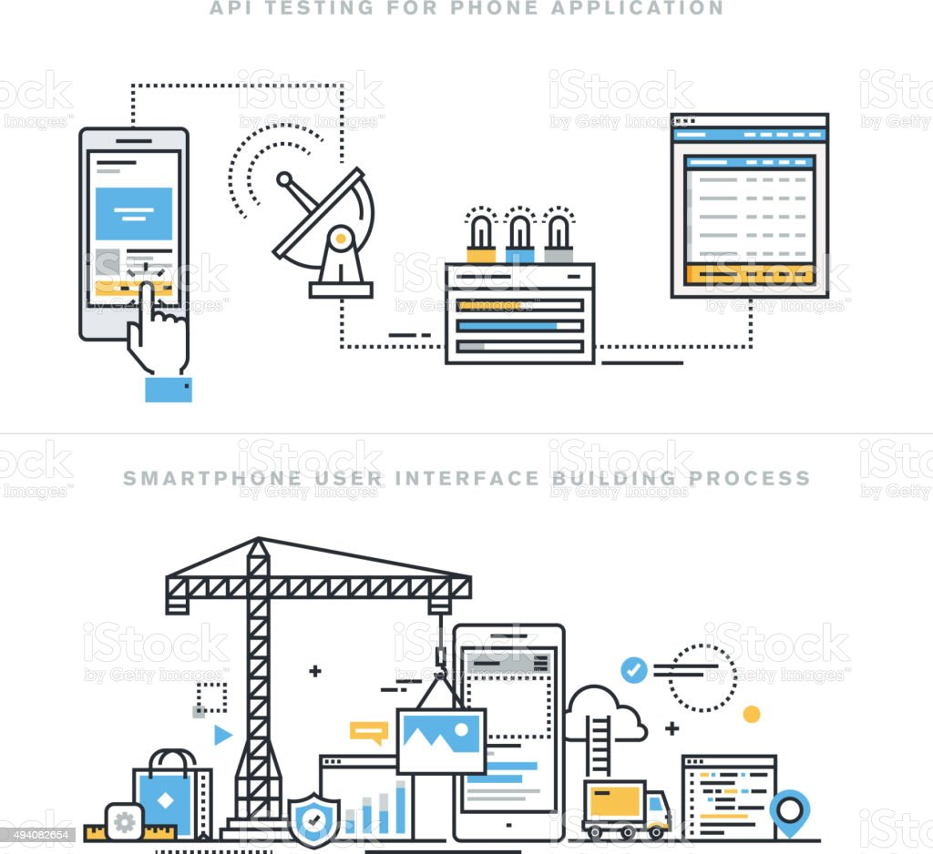 Flat line concepts for mobile interface development and api testing vector art illustration