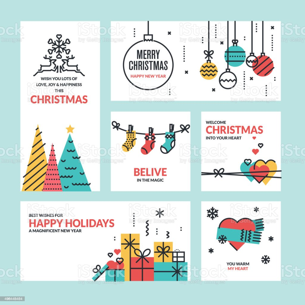 Flat line design Christmas and New Year greeting cards vector art illustration