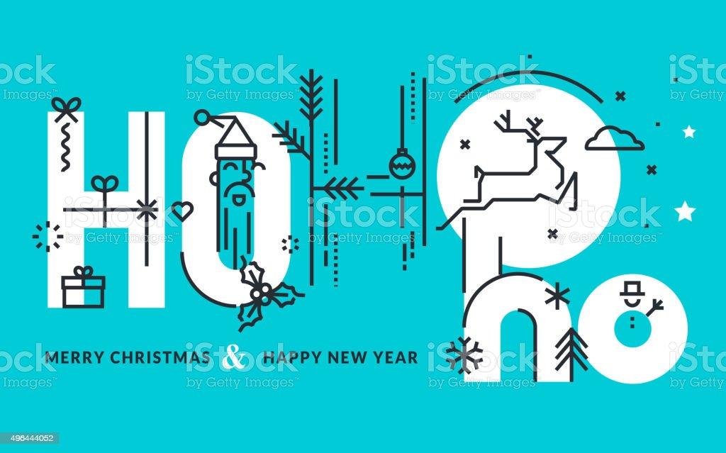 Plano de diseño de Navidad y Año Nuevo tarjeta de felicitación illustracion libre de derechos libre de derechos