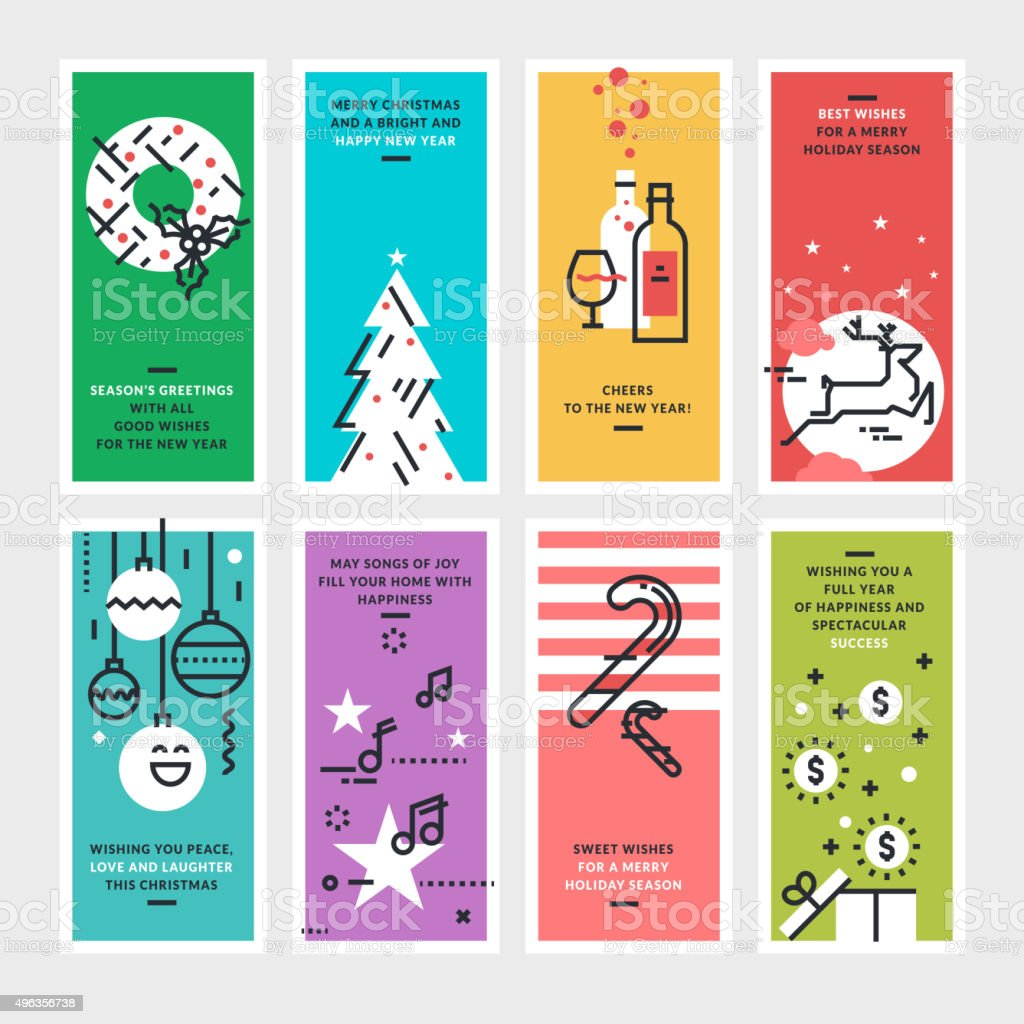 Plano de diseño de Navidad y Año Nuevo tarjetas de felicitación illustracion libre de derechos libre de derechos
