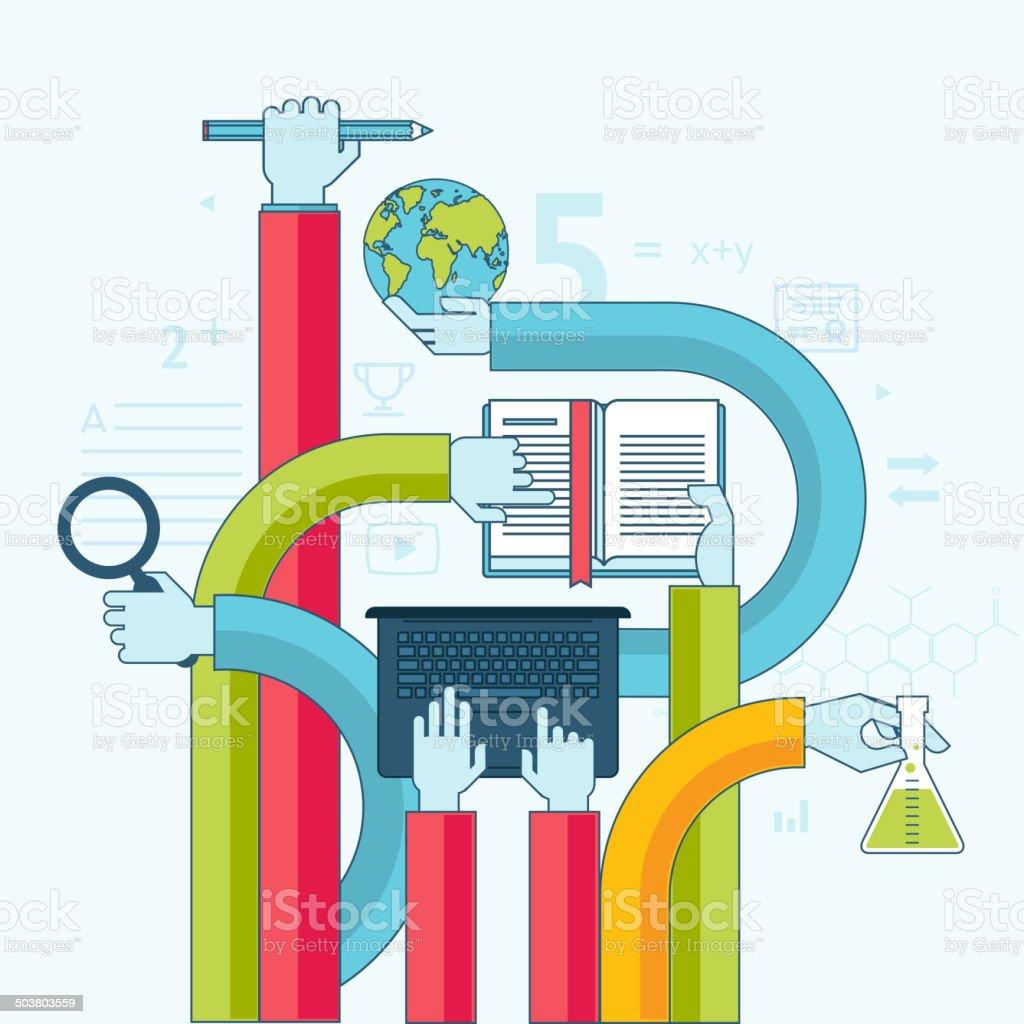 Concepto de diseño línea plana para la educación illustracion libre de derechos libre de derechos