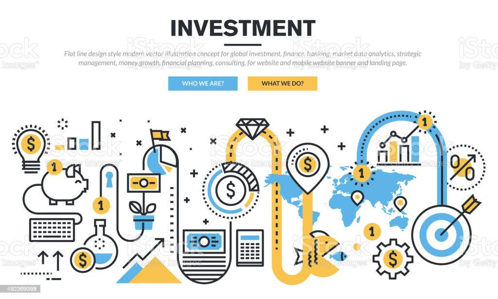 Flat line design concept for global investment vector art illustration