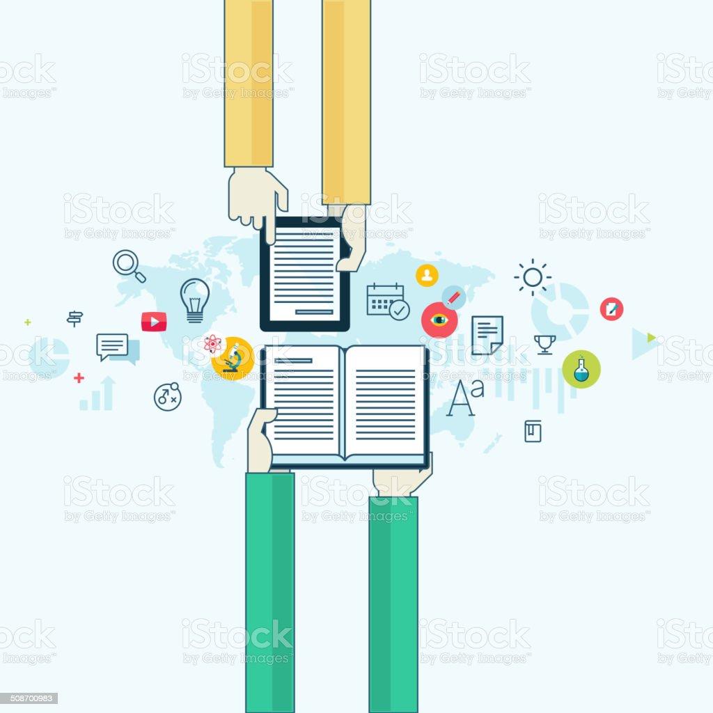 Concepto de diseño línea plana para la educación en línea illustracion libre de derechos libre de derechos