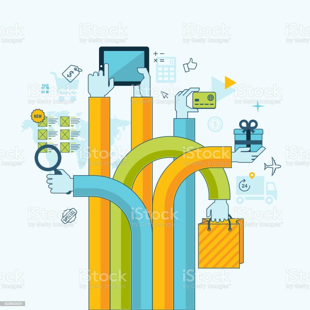 Concepto de diseño línea plana para compras en línea illustracion libre de derechos libre de derechos