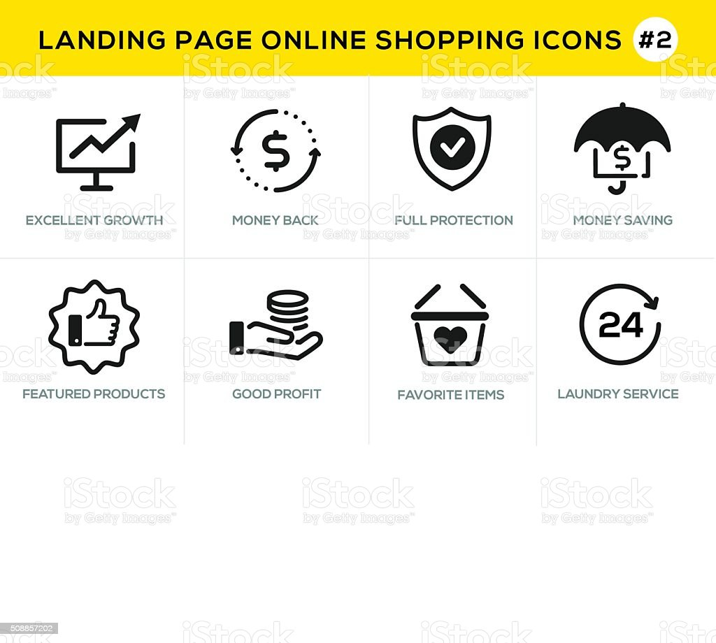 Flat line design concept icons for online shopping,  website banner vector art illustration