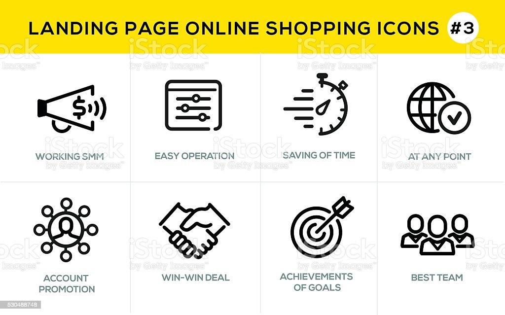 Flat line design concept icons for online shopping,  website banner vector art illustration