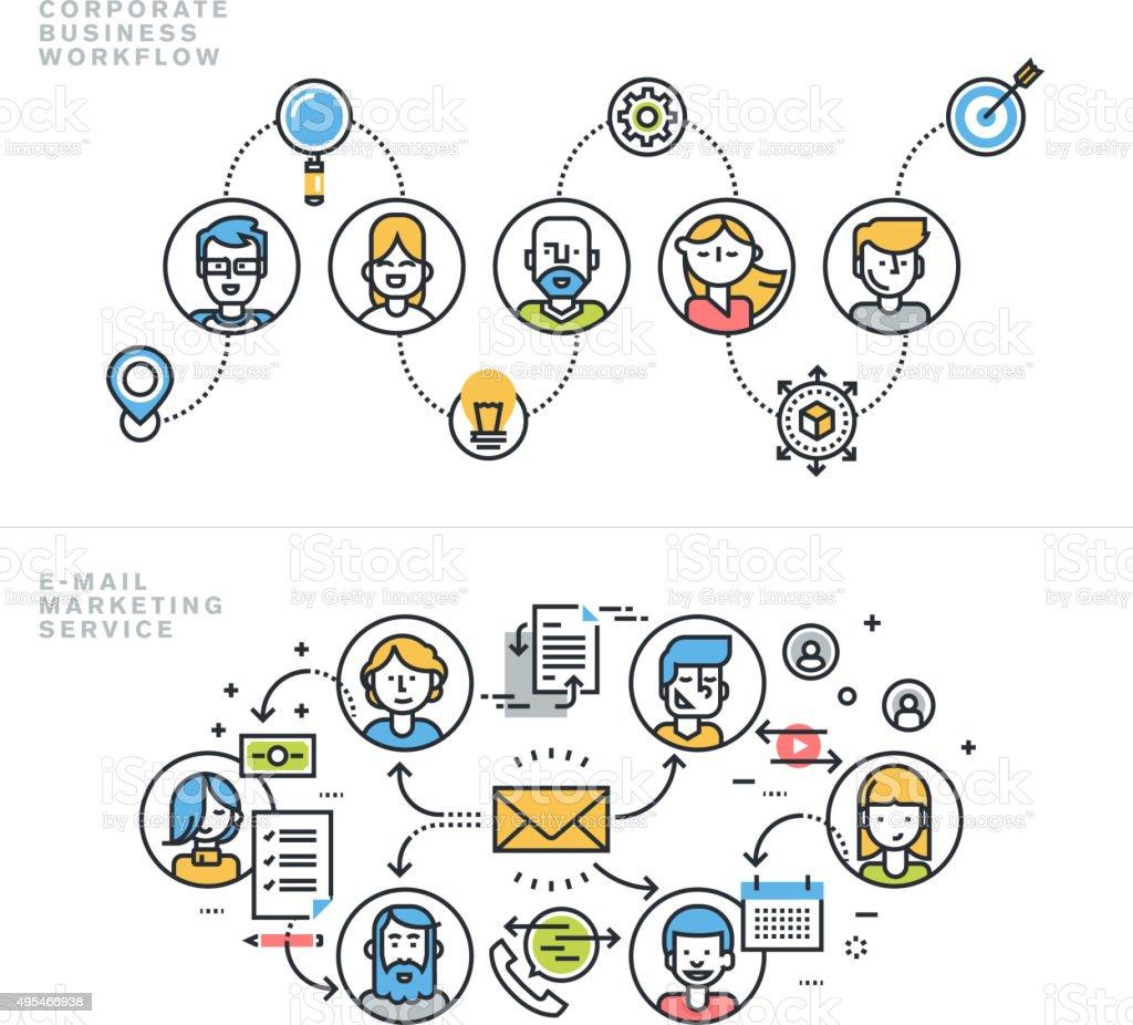De conceptos de diseño plano para los negocios y de comercialización illustracion libre de derechos libre de derechos