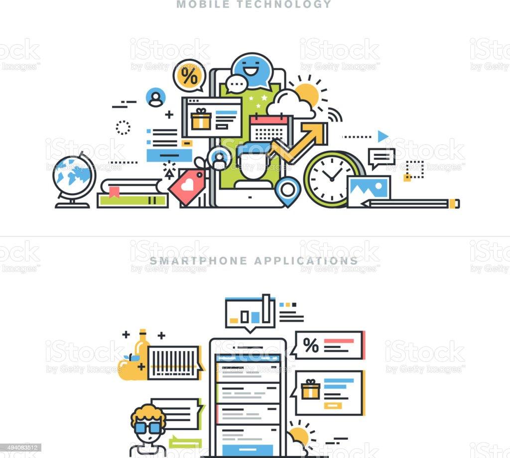 Conceptos de diseño línea plana para aplicaciones móviles y servicios illustracion libre de derechos libre de derechos