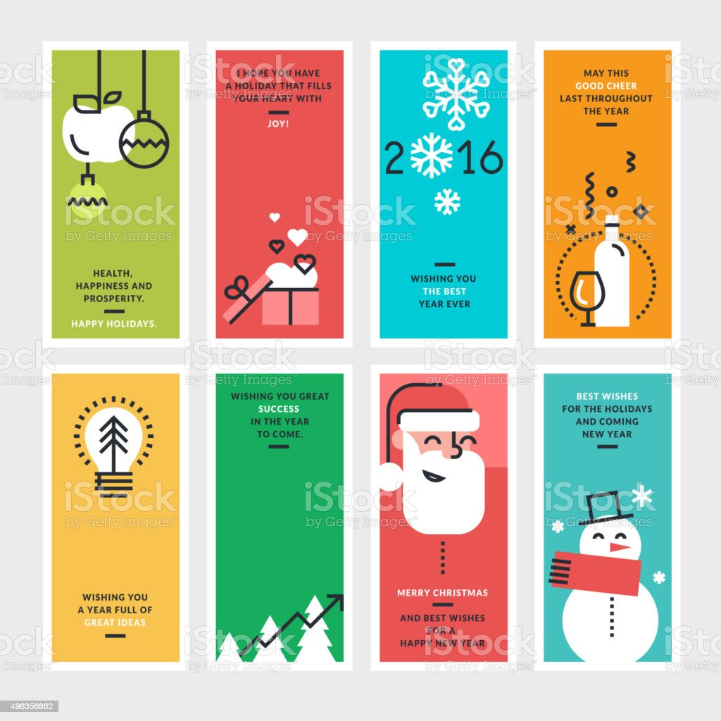 Plano de conceptos de diseño de tarjetas de año nuevo y Navidad illustracion libre de derechos libre de derechos