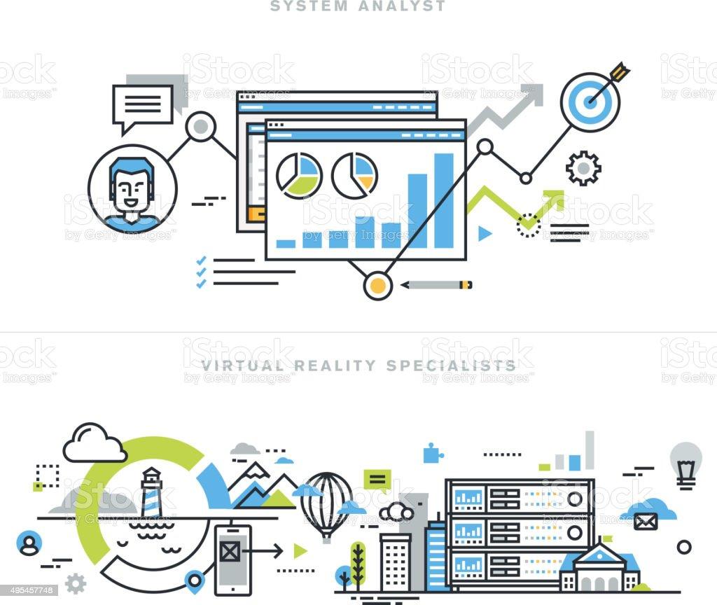 Conceptos de diseño línea plana para analista de sistemas y VR tecnología illustracion libre de derechos libre de derechos