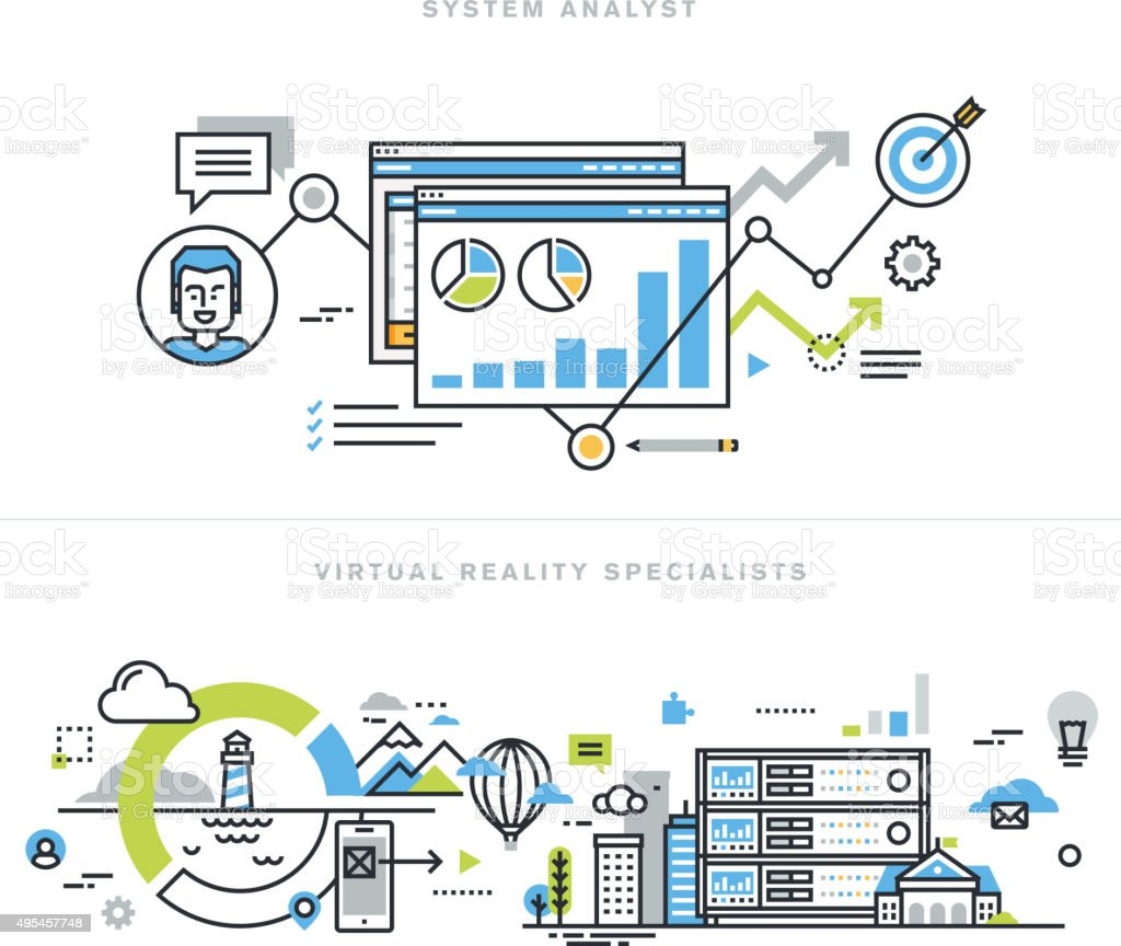 Flat line design concepts for system analyst and VR technology vector art illustration