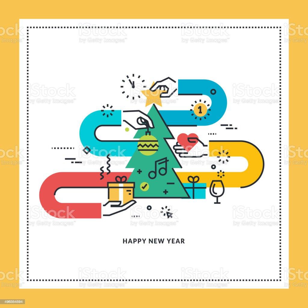 Plano de diseño de tarjeta de felicitación del año nuevo illustracion libre de derechos libre de derechos
