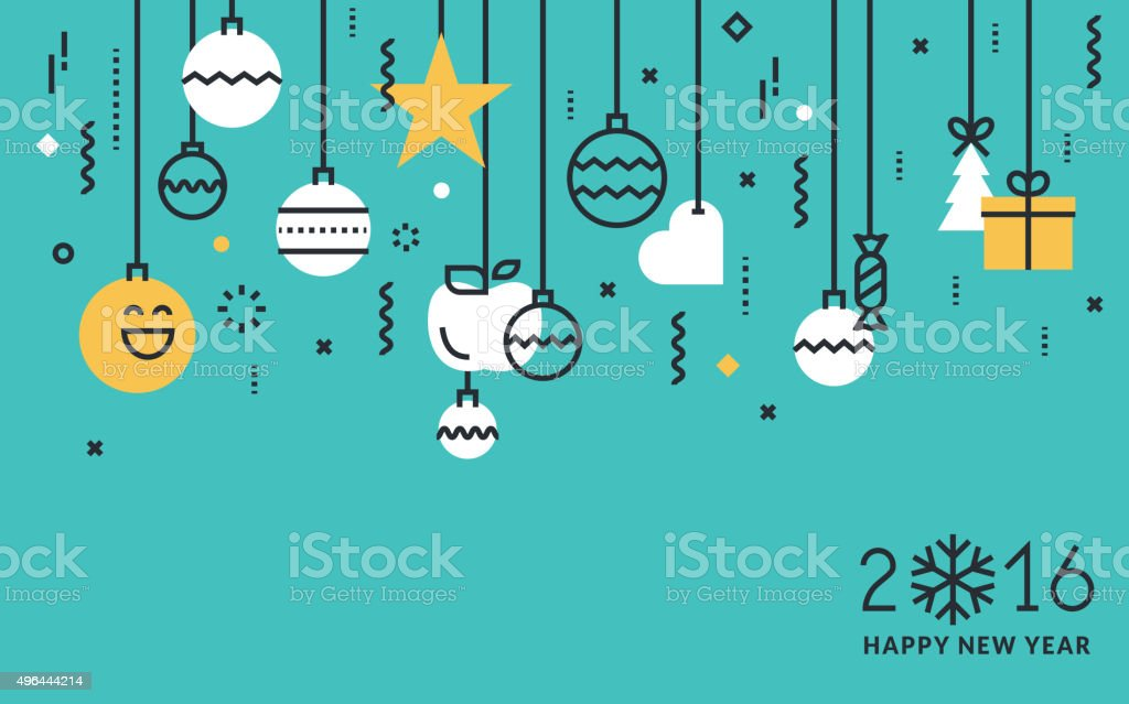 Flat line design New Year's greeting card and web banner vector art illustration