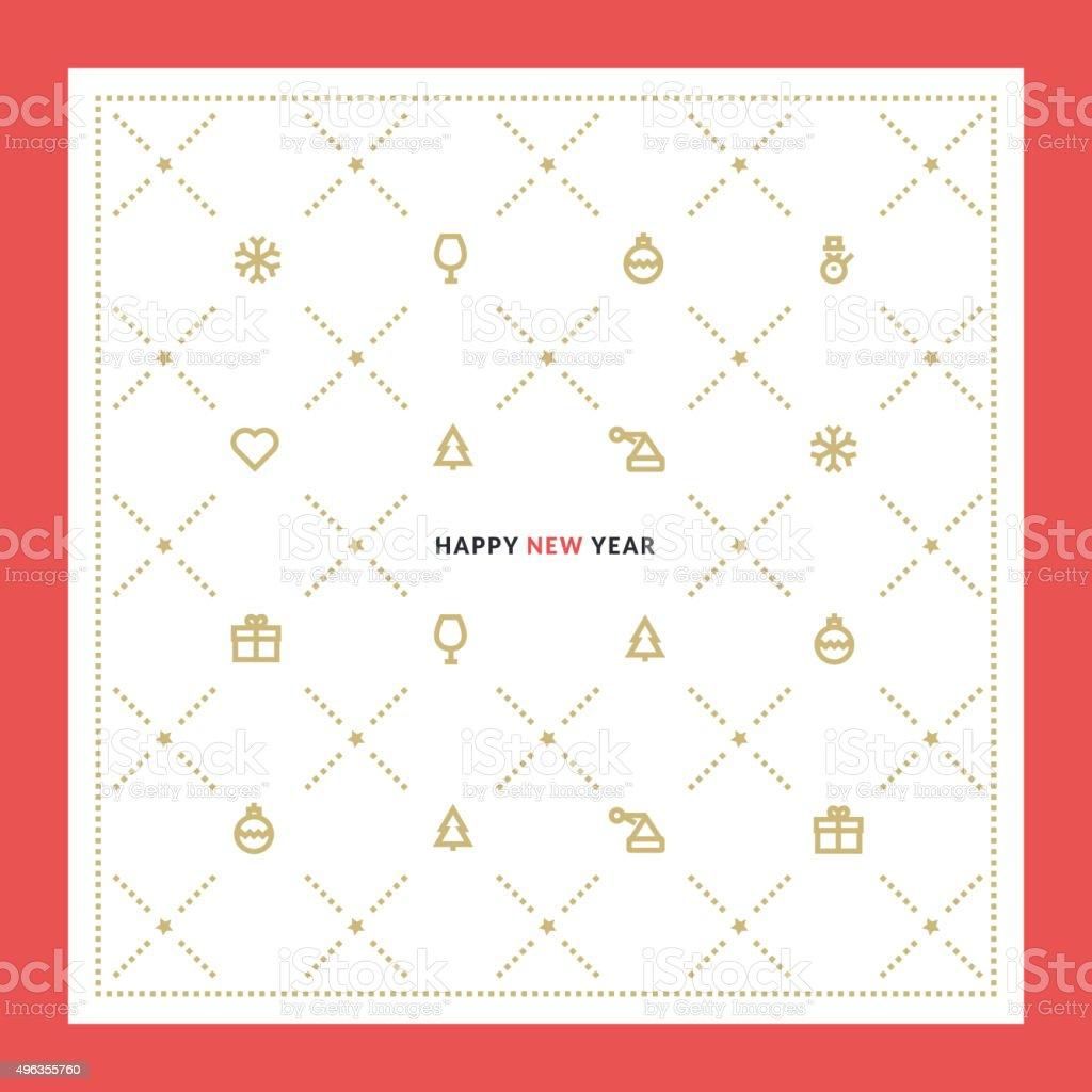 Diseño línea plana de año nuevo ilustración vectorial con coche de felicitación illustracion libre de derechos libre de derechos