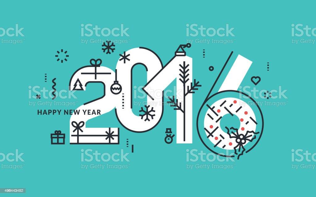 Diseño línea plana de año nuevo ilustración vectorial para tarjeta de felicitación illustracion libre de derechos libre de derechos