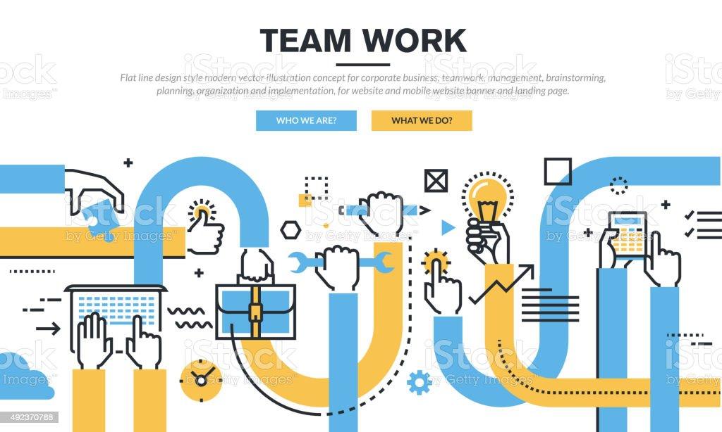 Flat line design style vector illustration concept for corporate business vector art illustration