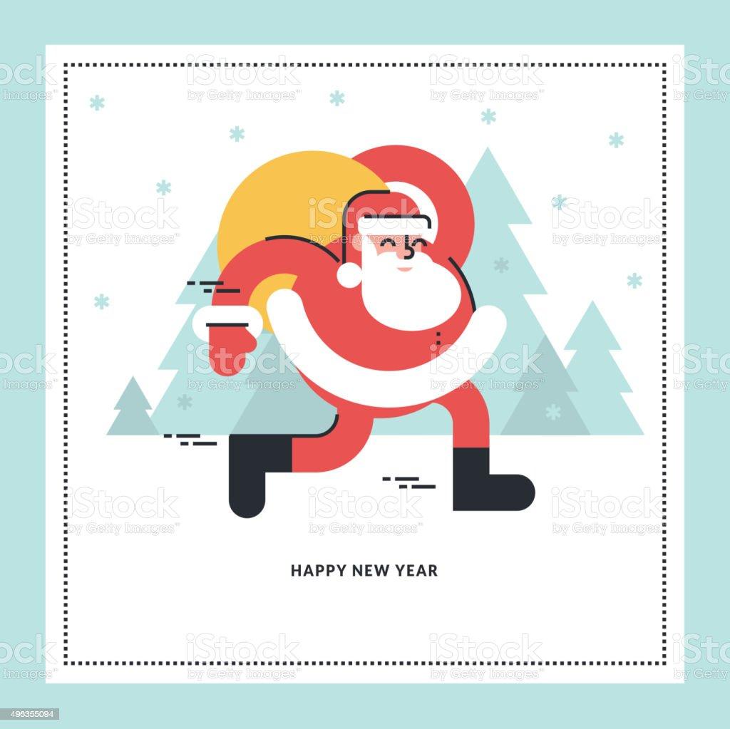 Ilustración vectorial de diseño línea plana para tarjeta de felicitación del año nuevo illustracion libre de derechos libre de derechos