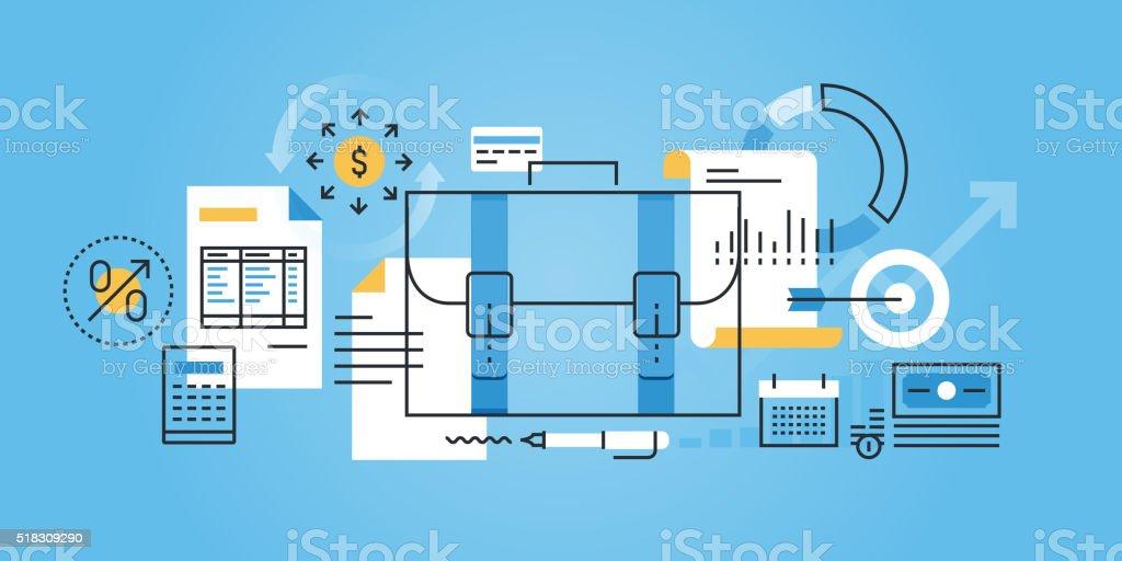 Flat line design website banner of business and finance vector art illustration