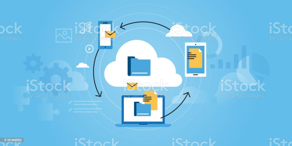 Flat line design website banner of business cloud computing vector art illustration
