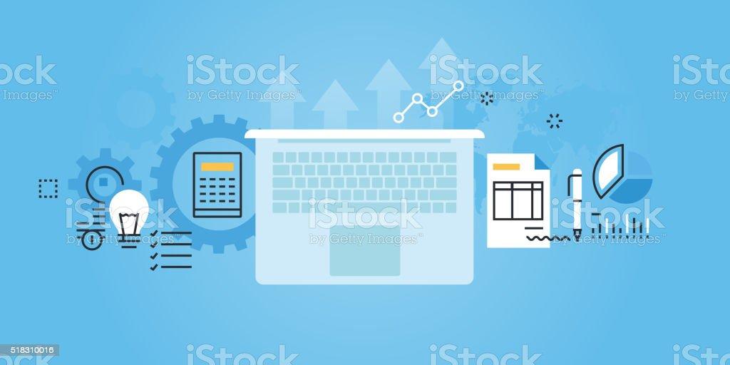 Flat line design website banner of business services vector art illustration