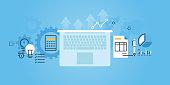 Flat line design website banner of business services