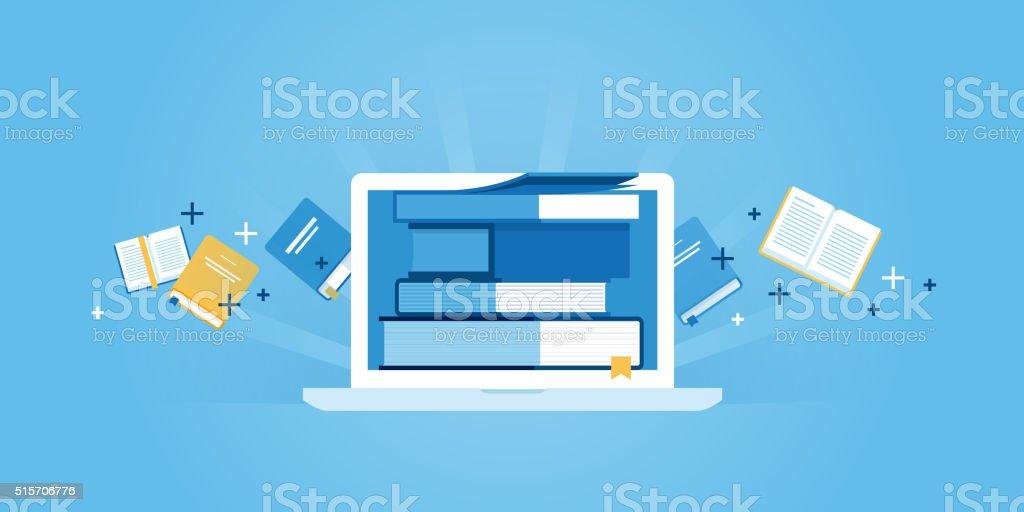 Flat line design website banner of e-learning vector art illustration