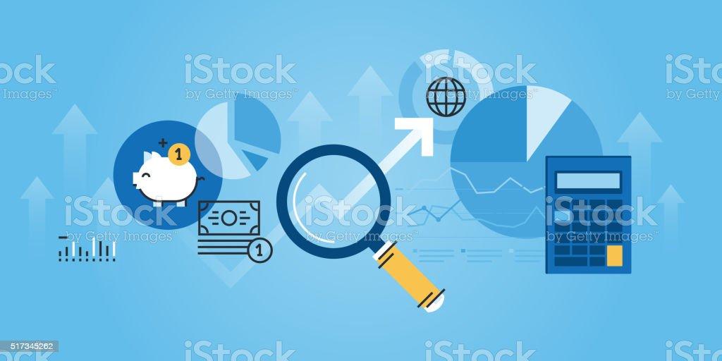 Plano de diseño web bandera de planificación financiera, de la estrategia de análisis illustracion libre de derechos libre de derechos