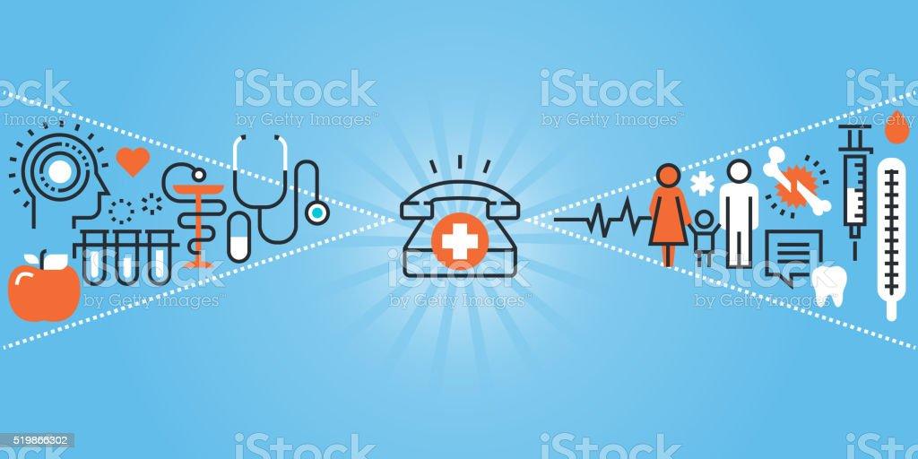 Flat line design website banner of healthcare and hospital facilities vector art illustration